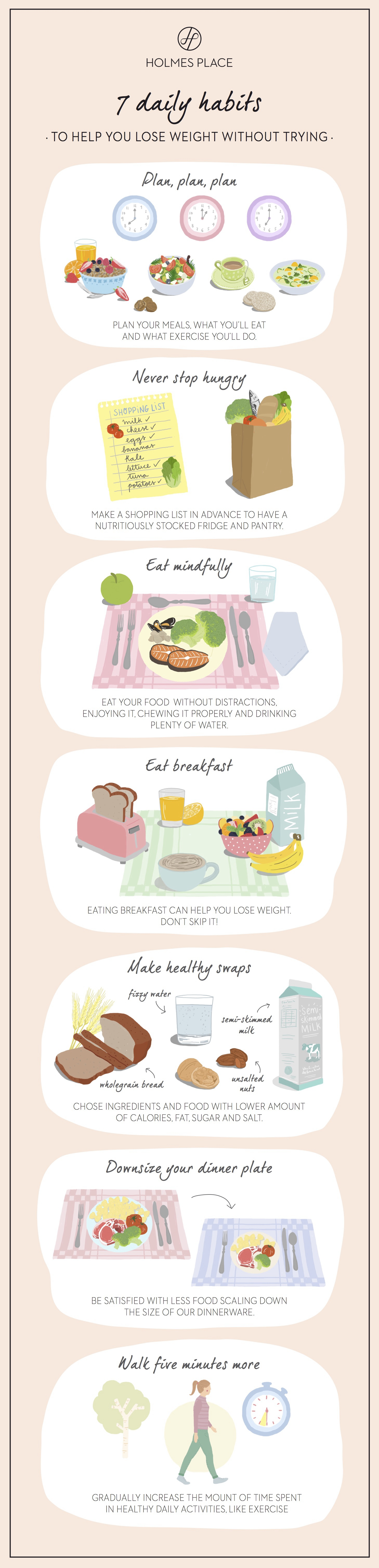 Holmes Place  illustration infographic healthy habits lose weight