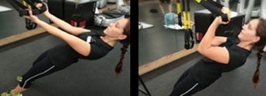 Mulher a fazer bíceps curl no trx | Fitness | Holmes Place