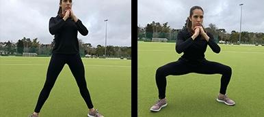 Rapariga a fazer squat sumo, exercício de fitness para tonificar membros inferiores | Holmes Place