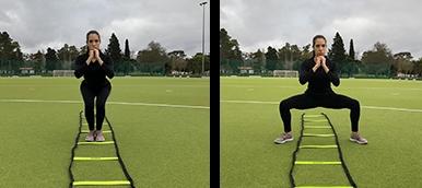 Rapariga a fazer squat dinamico, exercício de fitness para tonificar membros inferiores | Holmes Place