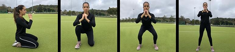 Rapariga a fazer kneeling jump, exercício de fitness para tonificar os membros inferiores | Holmes Place